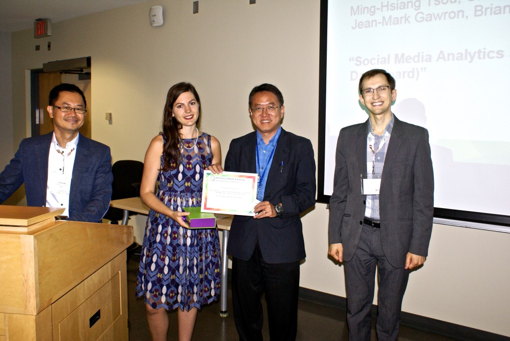 "Best Methods Paper Award: Ming-Hsiang Tsou, Chin-Te Jung, Christopher Allen, Jiue-An Yang, Jean-Mark Gawron, Brian H. Spitzberg & Su Han ""Social Media Analytics and Research Test-bed (SMART Dashboard)"""