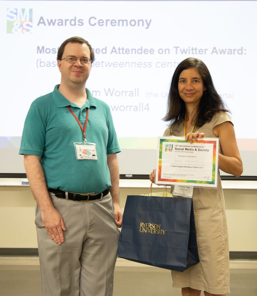 Most Engaged Attendee on Twitter Award goes to Adam Worrall @ adamworrall4 (University of Alberta).