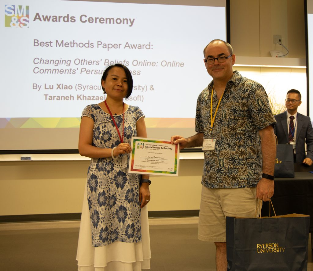 "Best Methods Paper Award goes to Lu Xiao (Syracuse University) and Taraneh Khazaei (Microsoft) for ""Changing Others' Beliefs Online: Online Comments' Persuasiveness"""
