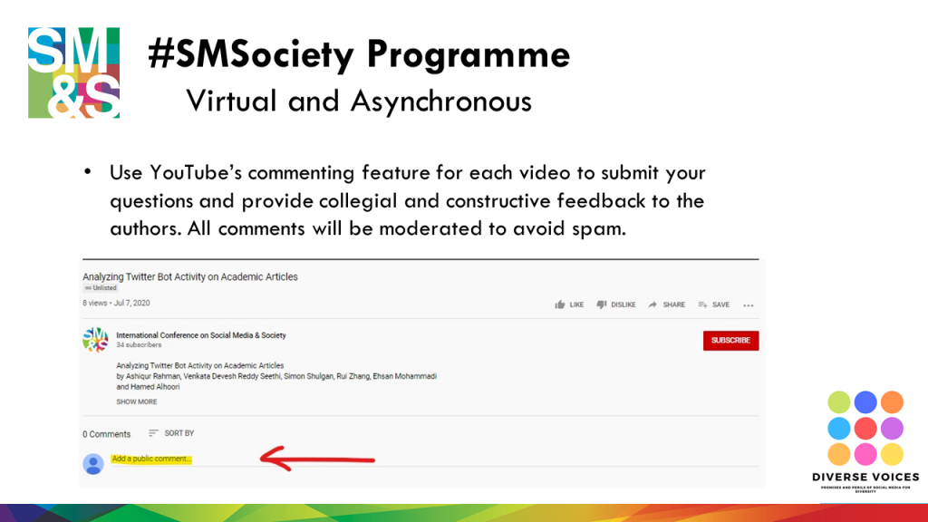 As you watch each presentation, we encourage you to use YouTube's commenting feature to provide feedback and ask questions.