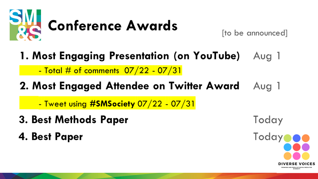 "Every year, we have a few awards that we give out as part of #SMSociety. This year we have 4 awards:  (1) Most Engaging Presentation - The presentation with the greatest number of comments on YouTube by July 31 will receive the ""Most Engaging Presentation"" Award. The result will be announced on August 1, 2020 via our Twitter account and the conference website.  (2) Most Engaged Attendee on Twitter - to be announced on August 1, 2020 via our Twitter account and the conference website. So, start tweeting early and often using the conference hashtag (#SMSociety).  (3) Best Methods Paper &  Best Paper are selected by the Track Chairs and the Organizing Committee from the pool of accepted full papers, based on the peer-review scores and feedback."