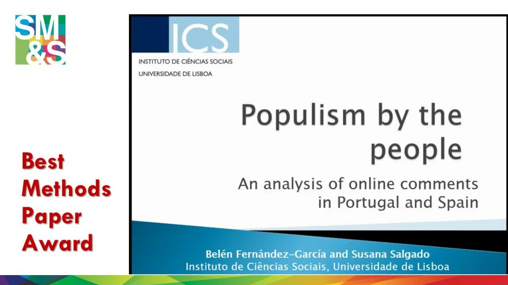 "The Best Method paper award goes to Belén Fernández García and Susana Salgado for ""Populism by the people: An analysis of online comments in Portugal and Spain""!"