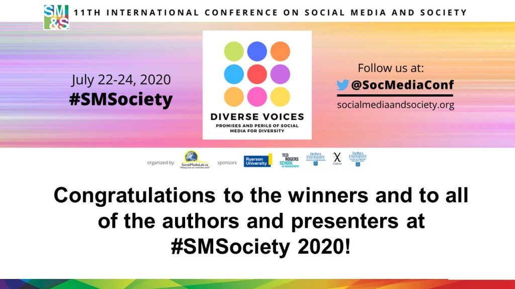 Congratulations to the winners and to all of the authors and presenters at #SMSociety 2020!